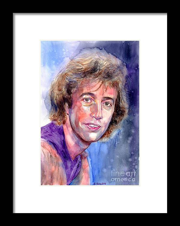 Robin Framed Print featuring the painting Robin Gibb Portrait by Suzann Sines
