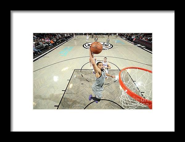 Nba Pro Basketball Framed Print featuring the photograph Sacramento Kings V Brooklyn Nets by Nathaniel S. Butler
