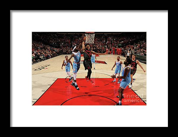 Nba Pro Basketball Framed Print featuring the photograph Sacramento Kings V Portland Trail by Cameron Browne