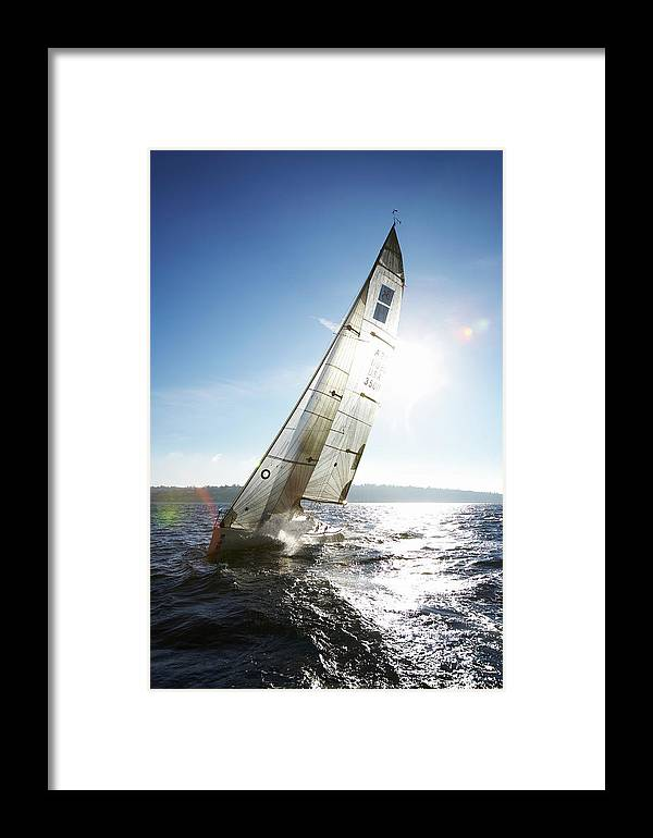Sailboat Framed Print featuring the photograph Sailboat In Sea by Thomas Northcut