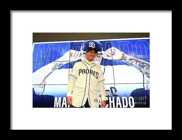 Three Quarter Length Framed Print featuring the photograph San Diego Padres Introduce Manny Machado by Jennifer Stewart