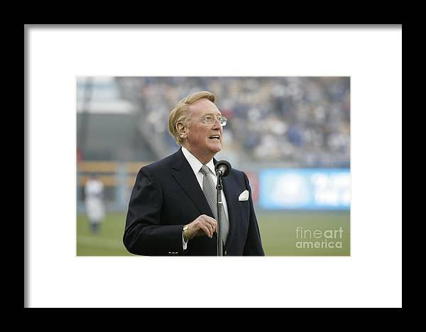 People Framed Print featuring the photograph San Diego Padres V Los Angeles Dodgers 1 by Rich Pilling