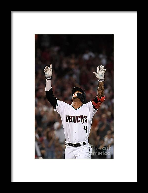 Three Quarter Length Framed Print featuring the photograph San Francisco Giants V Arizona by Jennifer Stewart