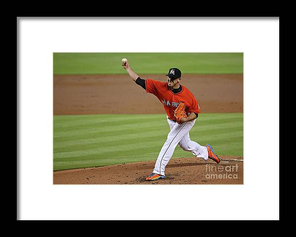 People Framed Print featuring the photograph San Francisco Giants V Miami Marlins by Mike Ehrmann