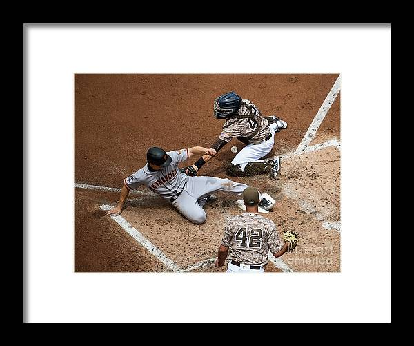 Second Inning Framed Print featuring the photograph San Franciso Giants V San Diego Padres by Denis Poroy