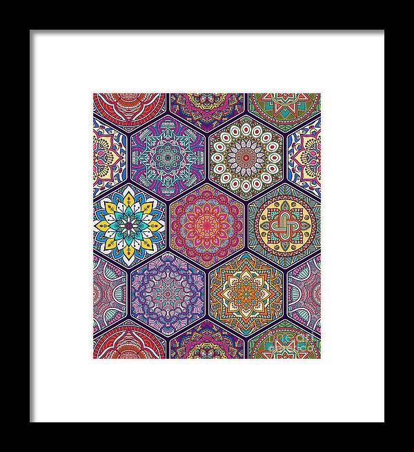 Pakistan Framed Print featuring the digital art Seamless Pattern. Vintage Decorative by Visnezh