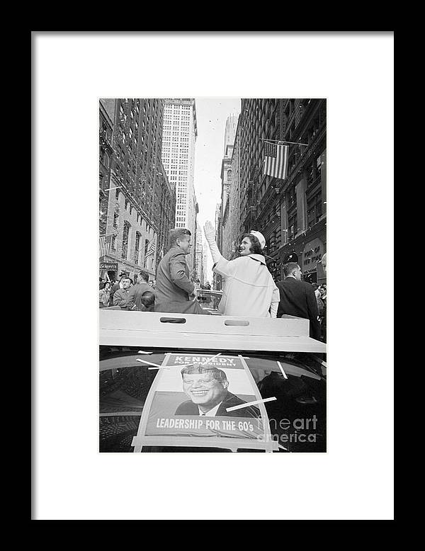 Democracy Framed Print featuring the photograph Senator John Kennedy And Jackie Kennedy by Bettmann