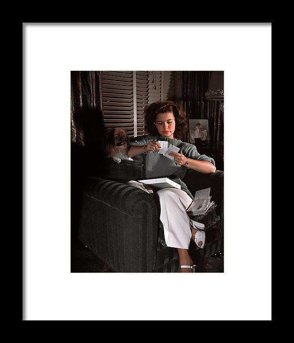 Three Quarter Length Framed Print featuring the photograph Shirley Temple At Home by Earl Theisen Collection