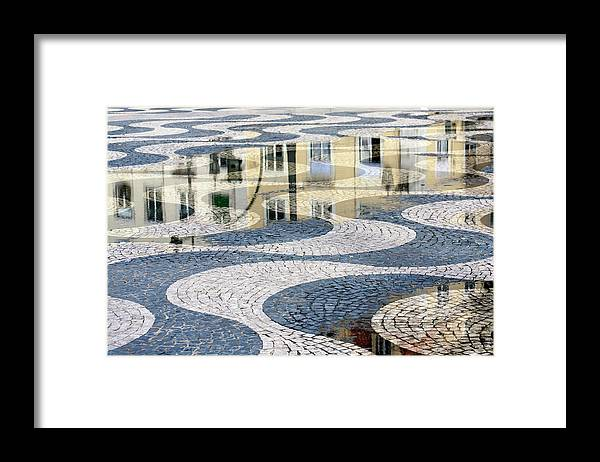 Curve Framed Print featuring the photograph Sidewalk In Lisbon, Portugal by Typo-graphics