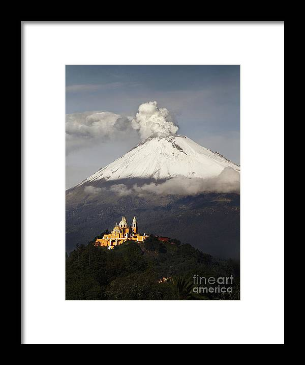 Sky Framed Print featuring the photograph Snowy Volcano And Church by Cristobal Garciaferro