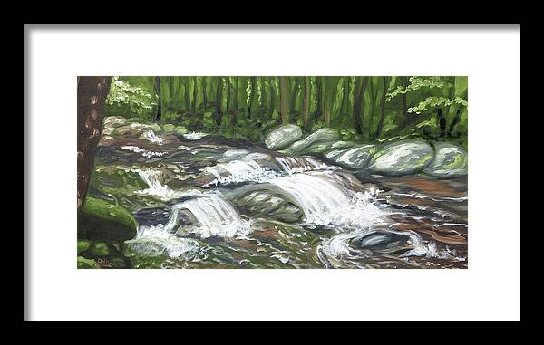 Oil Painting Framed Print featuring the painting Asheville Mountain Stream by Billie Mann