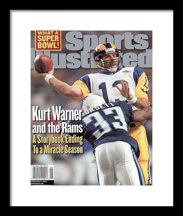 Atlanta Framed Print featuring the photograph St. Louis Rams Qb Kurt Warner, Super Bowl Xxxiv Sports Illustrated Cover by Sports Illustrated