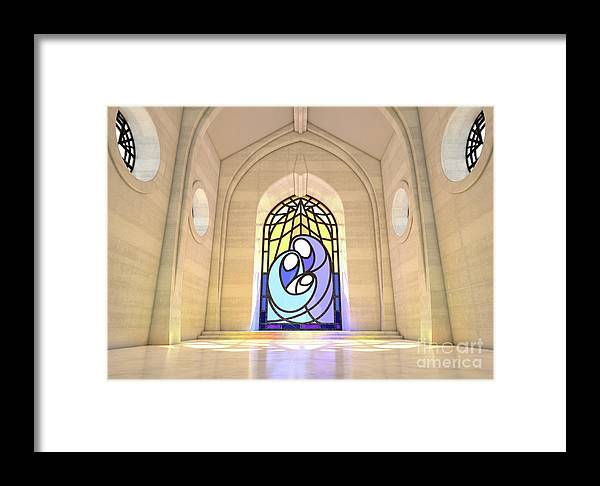 Nativity Framed Print featuring the digital art Stained Glass Window Nativity Scene by Allan Swart