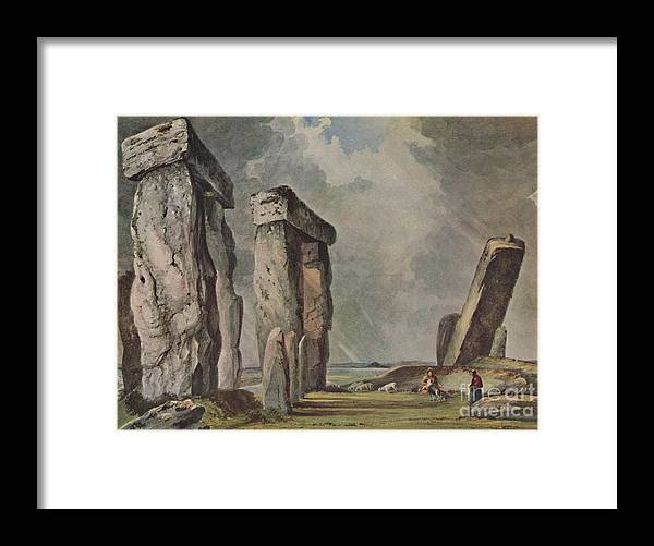 Unesco Framed Print featuring the drawing Stonehenge by Print Collector
