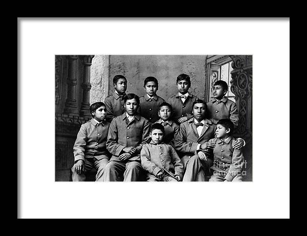 Education Framed Print featuring the photograph Students At Carlisle Indian School by Bettmann