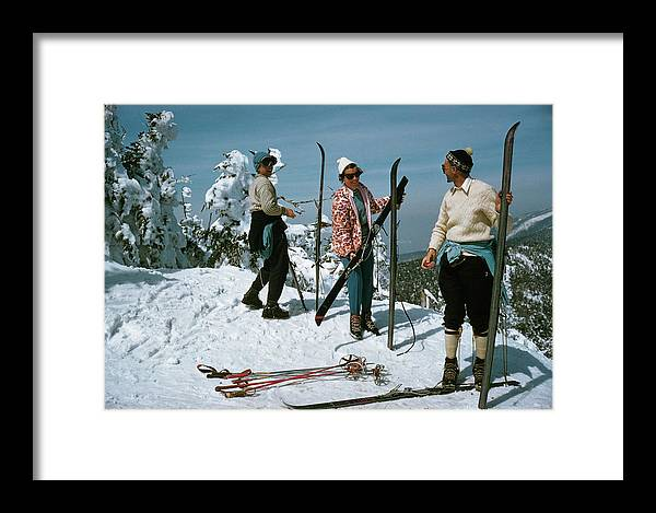 Ski Pole Framed Print featuring the photograph Sugarbush Skiing by Slim Aarons