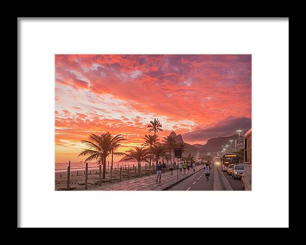 Majestic Framed Print featuring the photograph Sunset Over Ipanema Beach by Buena Vista Images