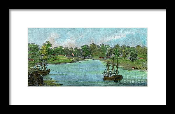 Engraving Framed Print featuring the drawing Sydney Cove, New South Wales by Print Collector