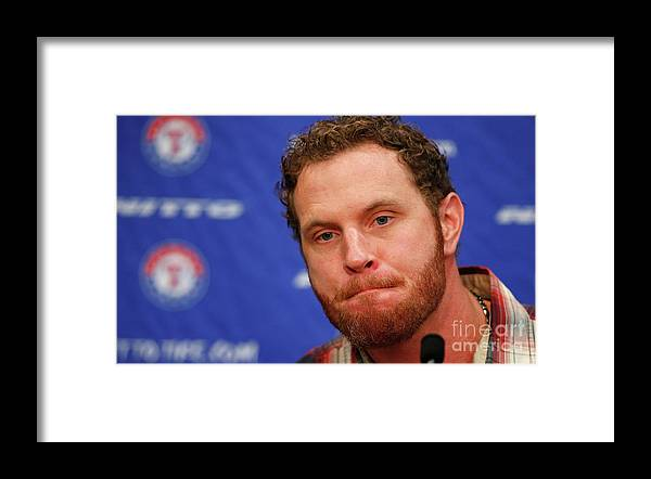 People Framed Print featuring the photograph Texas Rangers Introduce Josh Hamilton by Tom Pennington