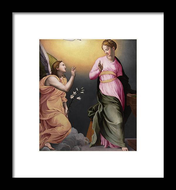 Bronzino Framed Print featuring the painting The Annunciation by Bronzino