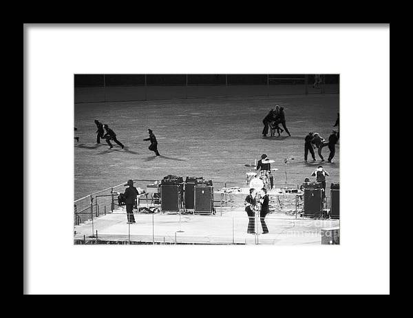 Candlestick Park Framed Print featuring the photograph The Beatles In Concert by Bettmann