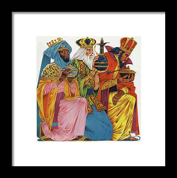 History; Bible; Birth; Historical; Nativity; Jesus Christ; Homage; Gifts; Saviour; The Three Wise Men; Presents; The Three Kings Framed Print featuring the painting The Three Kings by Richard Hook