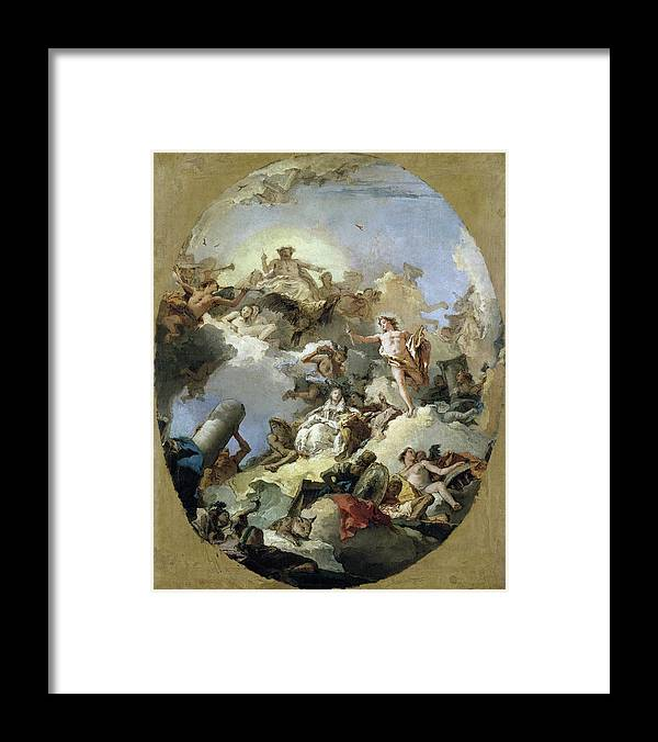 B1019 Framed Print featuring the painting The Apotheosis of the Spanish Monarchy, c1765 by Giovanni Battista Tiepolo