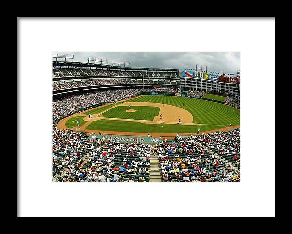 American League Baseball Framed Print featuring the photograph Tigers V Rangers by Ronald Martinez