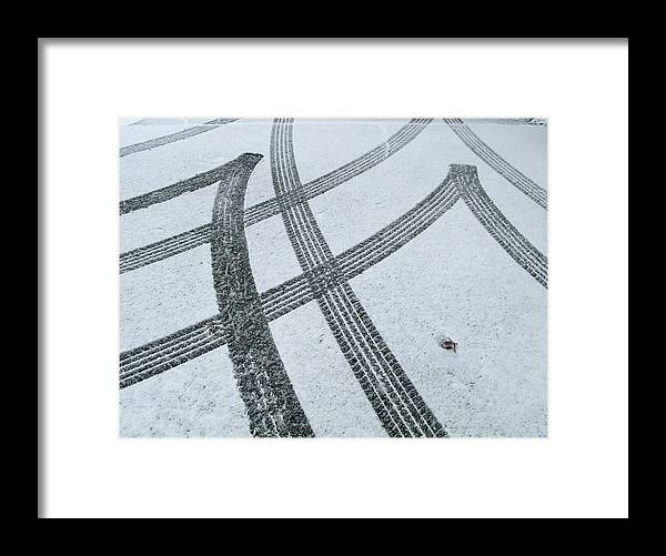 Black Color Framed Print featuring the photograph Tire Tracks In Snow, Winter by Jerry Whaley