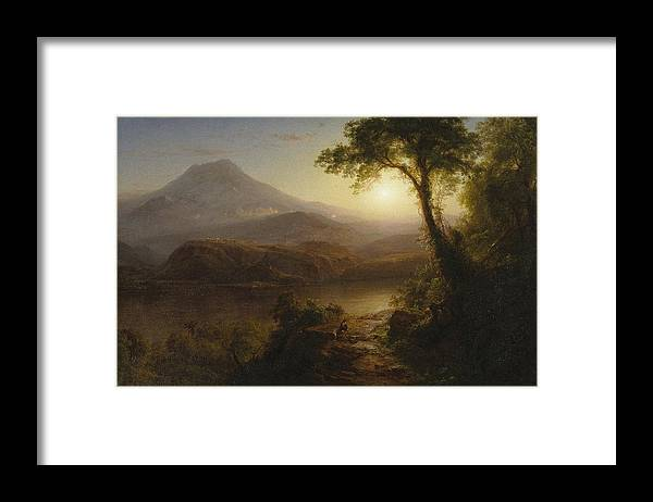 Tropical Scenery Framed Print featuring the painting Tropical Scenery by Frederic Edwin Church