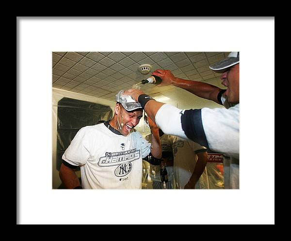 American League Baseball Framed Print featuring the photograph Twins V Yankees 1 by Ezra Shaw