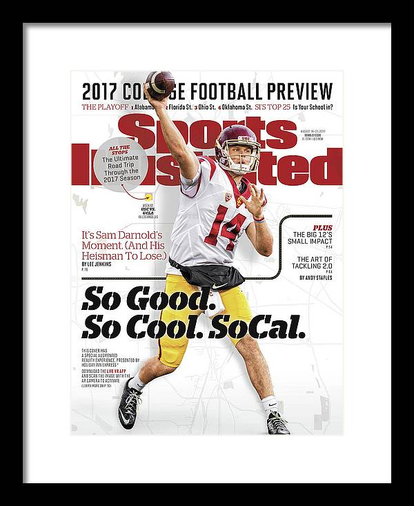 California Framed Print featuring the photograph University Of Southern California Sam Darnold, 2017 College Sports Illustrated Cover by Sports Illustrated