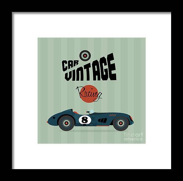 Symbol Framed Print featuring the digital art Vector Vintage Sport Racing Car by Vector Pro