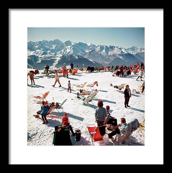 People Framed Print featuring the photograph Verbier Vacation by Slim Aarons