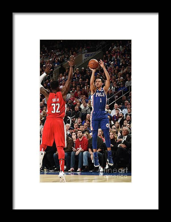 Nba Pro Basketball Framed Print featuring the photograph Washington Wizards V Philadelphia 76ers by David Dow