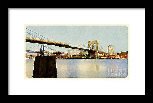 Seaport Framed Print featuring the digital art Water Color New York City Scene by Trentemoller