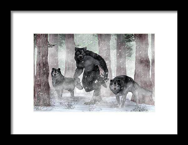 Werewolf And Wolves Framed Print featuring the painting Werewolf And Wolves by Daniel Eskridge