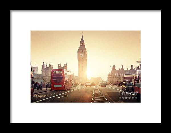Big Framed Print featuring the photograph Westminster Bridge At Sunset, London, Uk by Esb Professional