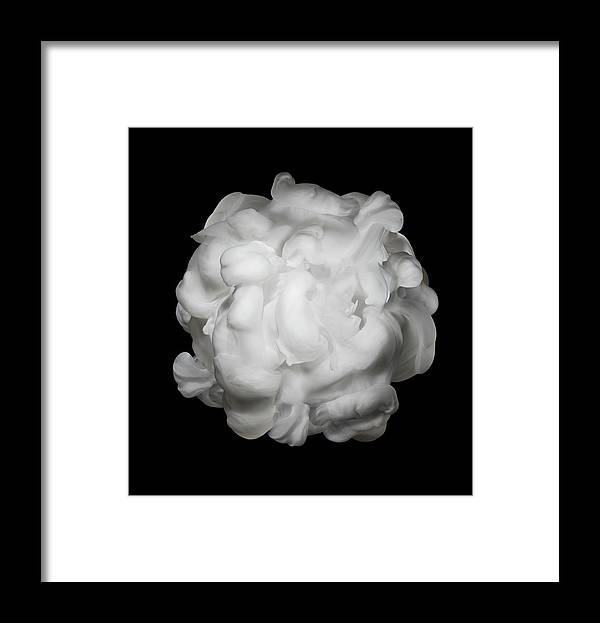 Dissolving Framed Print featuring the photograph White Ink In Water On Black Background by Biwa Studio