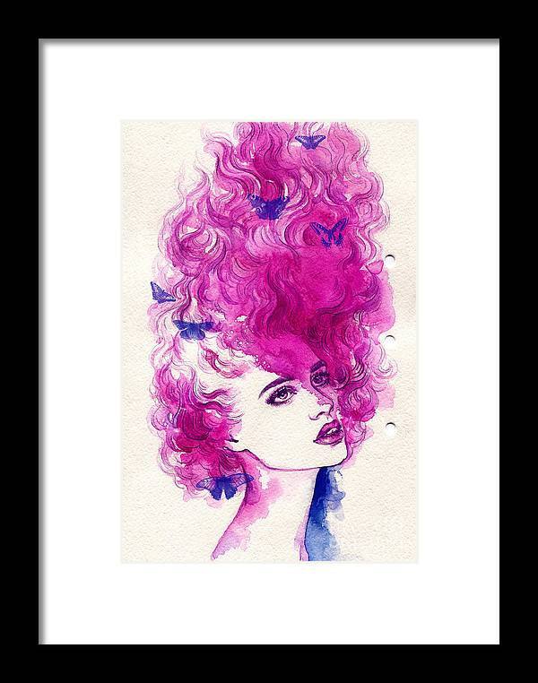 Beauty Framed Print featuring the digital art Woman Face. Hand Painted Fashion by Anna Ismagilova