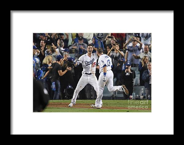 People Framed Print featuring the photograph World Series - Boston Red Sox V Los 1 by Kevork Djansezian