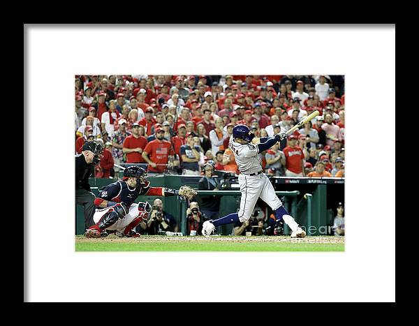 People Framed Print featuring the photograph World Series - Houston Astros V 1 by Rob Carr
