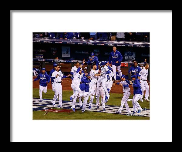 American League Baseball Framed Print featuring the photograph World Series - New York Mets V Kansas by Kyle Rivas