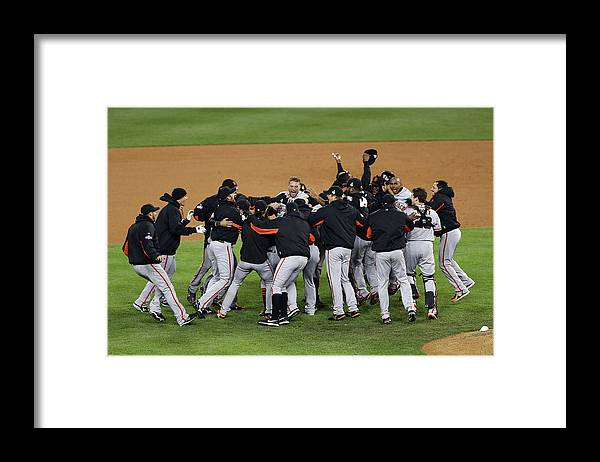 American League Baseball Framed Print featuring the photograph World Series - San Francisco Giants V by Christian Petersen