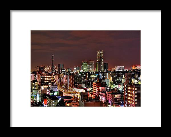 Tranquility Framed Print featuring the photograph Yokohama Nightscape by Copyright Artem Vorobiev