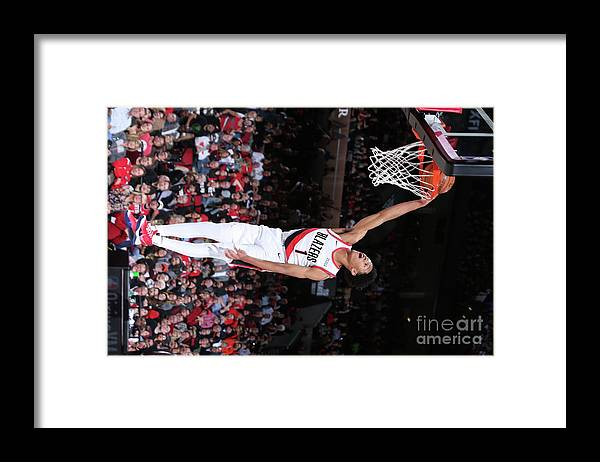 Nba Pro Basketball Framed Print featuring the photograph Denver Nuggets V Portland Trail Blazers by Sam Forencich