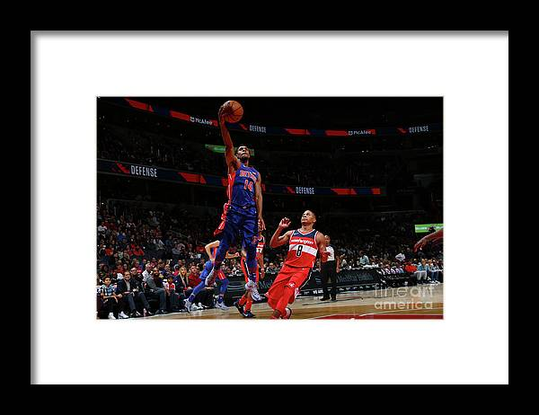 Nba Pro Basketball Framed Print featuring the photograph Detroit Pistons V Washington Wizards by Ned Dishman