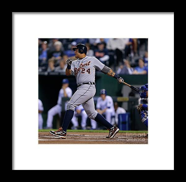 American League Baseball Framed Print featuring the photograph Detroit Tigers V Kansas City Royals 10 by Ed Zurga