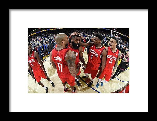 Nba Pro Basketball Framed Print featuring the photograph Houston Rockets V Golden State Warriors by Andrew D. Bernstein