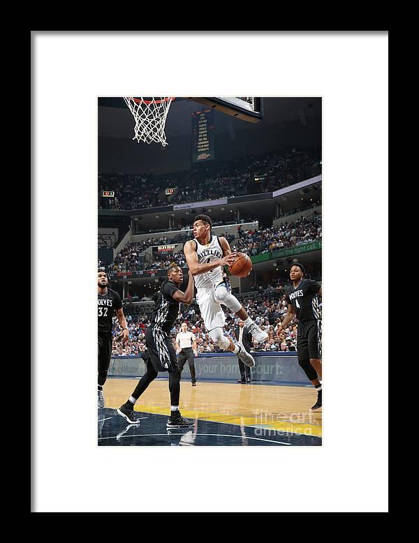 Nba Pro Basketball Framed Print featuring the photograph Minnesota Timberwolves V Memphis by Joe Murphy
